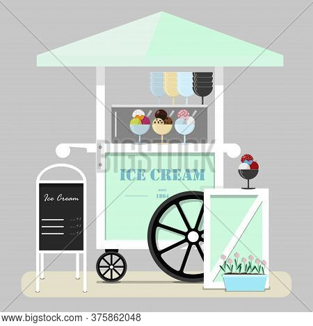 Flat Illustration Of Cute Ice Cream Cart. Diner In The Park, At The Fair, Street And Festival. Illus