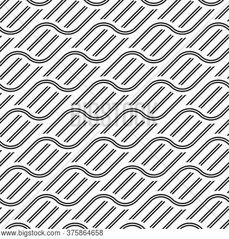 Design Seamless Waving Pattern. Abstract Monochrome Interlaced Background. Vector Art