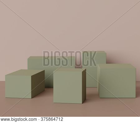 3d Render Scene Of Minimal Podium Scene For Display Products. Abstract Empty Background For Cosmetic