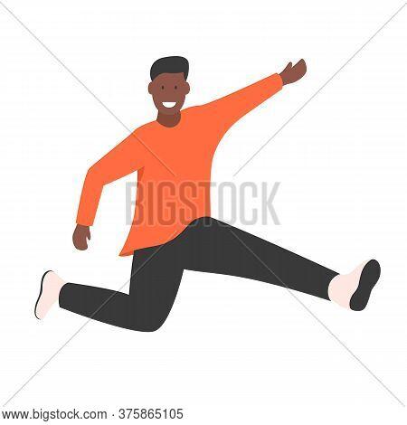 Happy Young African American Man Jumping Flat Vector Illustration. Man Having Fun, Dancing And Jumpi