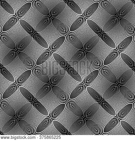 Design Seamless Grating Pattern. Abstract Monochrome Interlaced Background. Vector Art. No Gradient