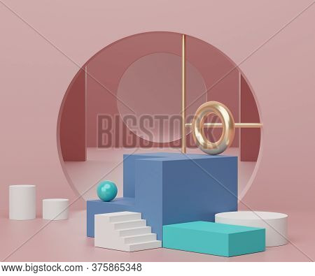 3d Geometric Forms. Podium In Coral Pink Color And Arch. Fashion Show Stage,pedestal, Shopfront With