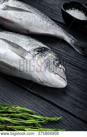 Raw Whole Pair  Dorado Or Sea Bream Fish With Herbs For Grill Uncooked  On Black Wooden Table Side V