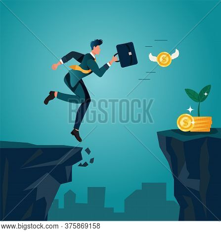 An Optimistic Businessman Jumping And Running Over Cliffs, Chasing Money Coins. Conceptual Of Taking