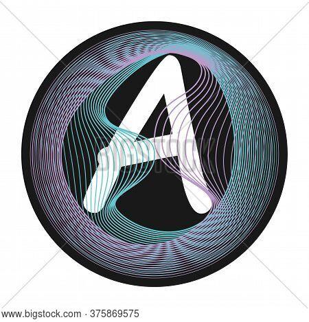Holographic Glitch Monogram. Letter Frame. Guilloche Waving Design. Letter A Monogram.