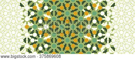 Morocco Green Mosaic Wallpaper, Repeating Vector Border, Pattern, Background. Geometric Morocco Half