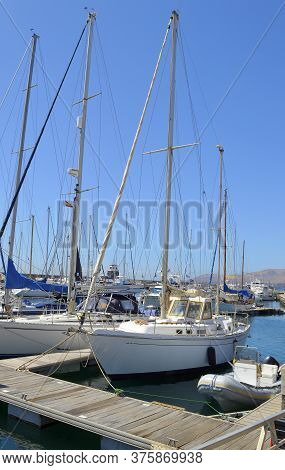 Puerto Calero, Lanzarote, Canary Islands, Spain - September 14 , 2019 : Yachts In Puerto Calero Harb