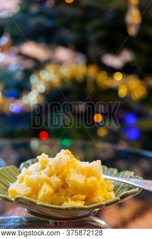 Austrian potato salad with Christmas tree