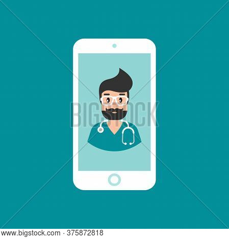 Smiling Man Doctor On The Phone Screen. Medical Internet Consultation. Healthcare Consulting Web Ser