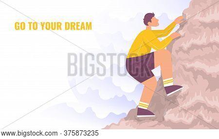 Climber Climbs A Mountain. Lifestyle Concept Outdoor Activity. Color Cartoon Flat Vector Illustratio