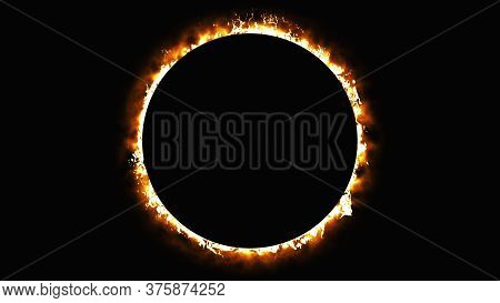 Solar Eclipse, Computer Generated. Burning Ring Of Fire, Portal, Gate. 3d Rendering Of Fantastic Bac
