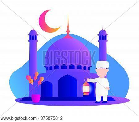 Illustration Of Muslim Kids Holding Lantern. Ramadan Kareem Illustration With Muslim Kids. Vector Il