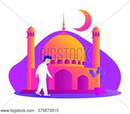 Illustration Of A Muslim Walking To The Mosque. Ramadan Kareem Illustration With Muslim People. Vect