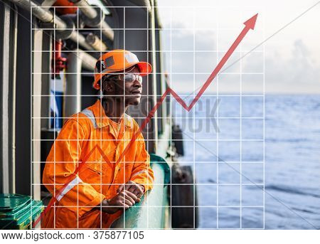 Concept Of Growth Up In Marine Industry With Rising Graphics. Tired Seaman Ab Or Bosun On Deck Of Ve