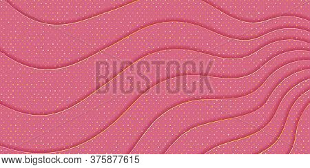 Pink Background With Waves Texture And Golden Spangles. Effect Of Layered Cut Paper. Gentle Backgrou