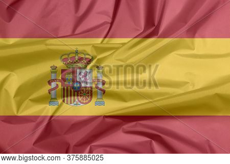 3d Illustration Of Fabric Flag Of Spain. Crease Of Spanish Flag Background, A Horizontal Of Red Yell