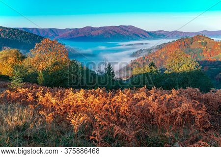 View Of Picturesque Mountain Valley With Blue Sky On Background. Magnificent Highlands With Colorful
