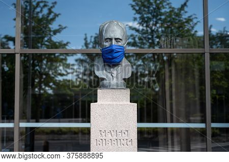 Lund, Sweden - July 9, 2020: Statue Of Seved Ribbing Wearing A Face Mask During The Coronavirus Epid