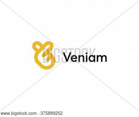 Letter V Fingers Vector Sign Logo. Creative Heart, Hand, Fingers, Ok, Like Icon Symbol Mark Logotype