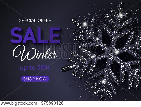 Christmas sale banner made of shiny black snowflakes. Christmas. Christmas Vector. Christmas Background. Merry Christmas Vector. Merry Christmas banner. Christmas illustrations. Merry Christmas Holidays. Merry Christmas and Happy New Year Vector Backgroun