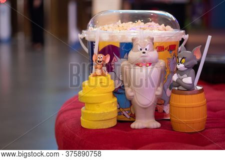 Samut Prakan, Thailand - July 11, 2020 : Set Of Bucket Popcorn And Glass To Promote The Movie Of Tom