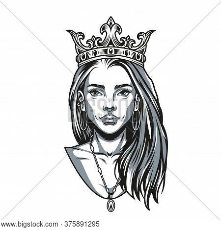 Vintage Concept Of Pretty Woman With Crown Pendant And Earrings In Monochrome Style Isolated Vector