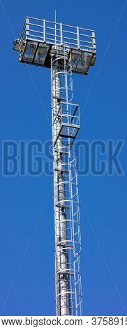 Lighting Mast  At Dry Sunny Summer Day
