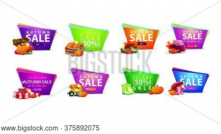 Large Set Of Autumn Discount Banners In The Form Of Geometric Irregular Shapes With Autumn Elements.