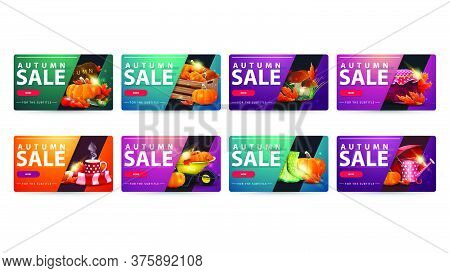 Autumn Sale, Set Of Modern Discount Banners With Rounded Corners, Buttons And Autumn Elements. Green