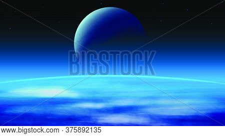A Cosmic Landscape With Large Planets And Dark Outer Space. Vector Realistic Illustration Of Open Sp