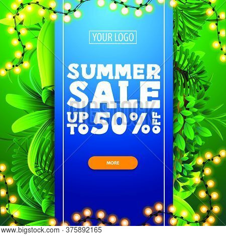 Summer Sale, Up To 50% Off, Discount Banner Template Design With A Blue Large Stripe With Offer In T