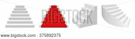 Realistic 3d Vector Staircases. Front View, Front View With A Red Carpet, Half-turn White Stairs, Cu