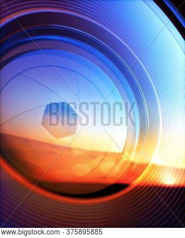 Macro Photography From Inside An Objective Lens And Its Details Like The Diaphragm Blades. Reflectio
