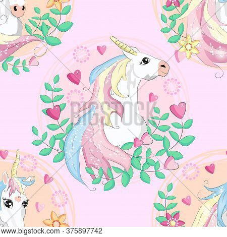 Seamless Pattern With Cute Unicorns, Clouds, Rainbow And Stars. Magic Background With Little Unicorn