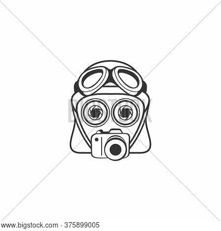 Camera And Helmet Robot With Specs Vector Logo