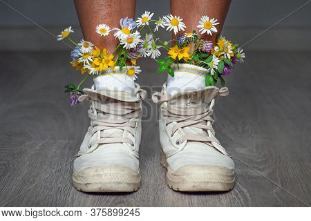 Womens Feet In Socks They Are Inserted Flowers. A Young Hipster Girl In Sneakers And Socks With Flow
