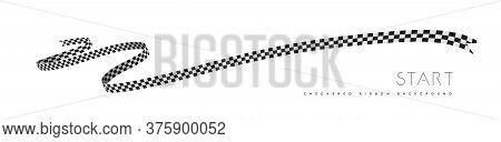 Checkered Racing Flag, Ribbon. Vector Illustration On White