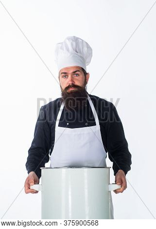 Dinnerware. Cook Man In Apron Holds Saucepan. Cooking Pot. Saucepan. Casserole. Cooking, Culinary, F