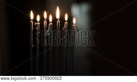 Menorah With Dark Candles, Rituals And Magical Time