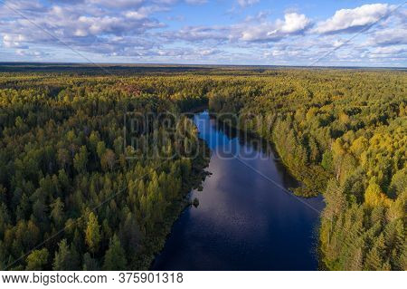 Over A Narrow Forest Lake On A September Day (aerial Photography). Kostroma Region, Russia