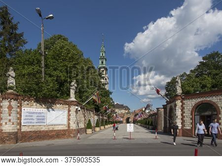 Częstochowa, Poland, June 23, 2020: Deserted Access To The Sanctuary Of The Blessed Virgin Mary At J