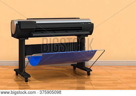Plotter, Large Format Inkjet Printer In Room Near Wall, 3d Rendering