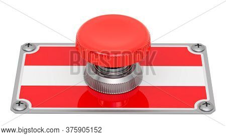 Push Button With Austrian Flag, 3d Rendering Isolated On White Background