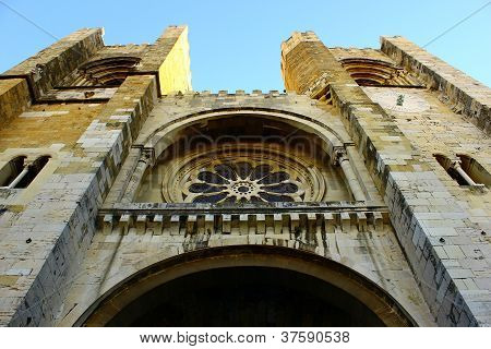 Detail of the facade of the Cathedral of Lisbon, Portugal