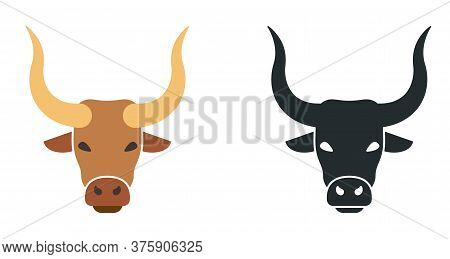 Ox Flat Vector Illustration. Farm Bull Icon. Bullock Or Steer Head.