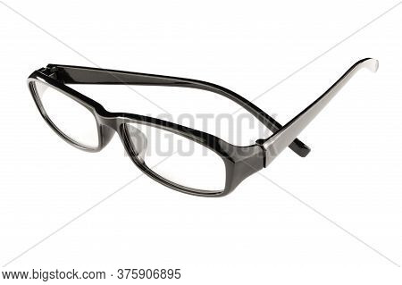 An Isolated Composite Of Black Eyeglasses Utilizing Multiple Focus Points To Achieve A Near Full Foc