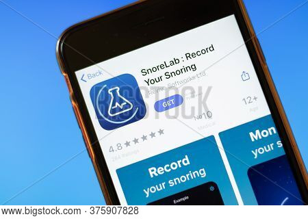Moscow, Russia - 1 June 2020: Snorelab Record Your Snoring App Logo On Smartphone, Illustrative Edit