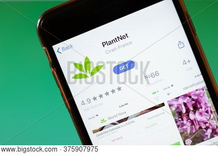 Moscow, Russia - 1 June 2020: Plantnet App Logo On Smartphone, Illustrative Editorial.