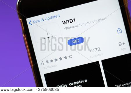 Moscow, Russia - 1 June 2020: W1d1 App Logo On Smartphone, Illustrative Editorial.