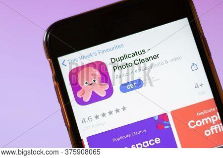 Moscow, Russia - 1 June 2020: Duplicatus Photo Cleaner App Logo On Smartphone, Illustrative Editoria